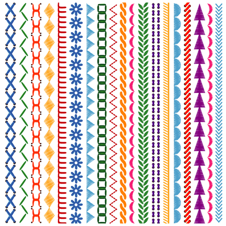 Embroidery stitches vector seamless patterns and borders set. Ethnic ornament fabric textile, vector illustration