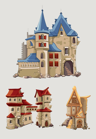 fortress: Medieval castles and buildings vector set in cartoon style.  Fantasy architecture with tower building, kingdom tale illustration