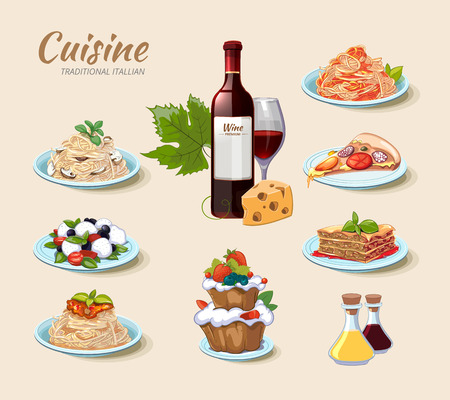 Italian cuisine vector icons set in cartoon style. Cake and cheese, wine and pizza, food menu, pasta spaghetti illustration
