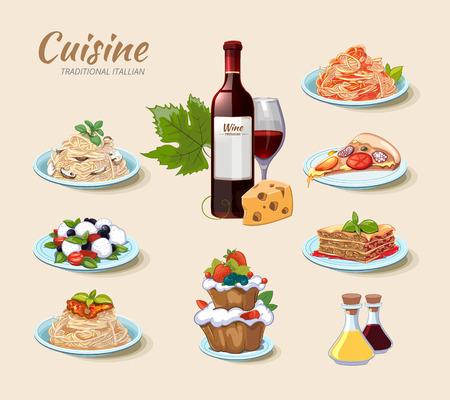 comida italiana: cocina de vectores iconos italianos ubicado en el estilo de dibujos animados. Pastel de queso, vino y pizza, menú de comida, pasta de espaguetis ilustración Vectores