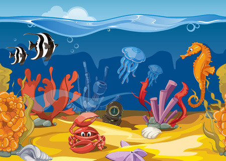 Seamless underwater landscape in cartoon style. Ocean and sea, fish and coral. Vector illustration Illustration