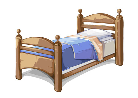 cartoon bed: Wood bed in cartoon style. Furniture interior, bedroom comfortable. Vector illustration Illustration