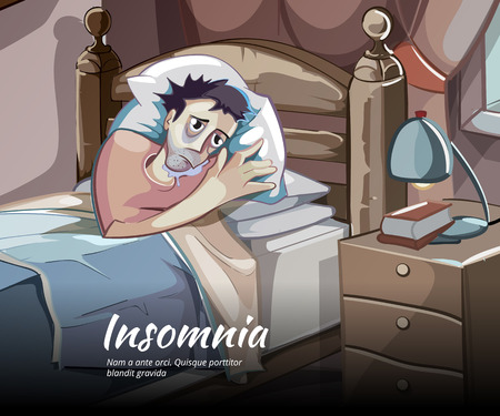 cartoon bed: Sleepless vector character. Sleeplessness and insomnia, bedroom person illustration Illustration