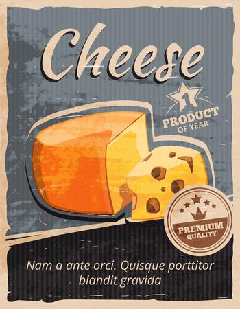 Affiche vintage de vecteur de fromage. Snack laitiers, petit déjeuner gourmet, rétro délicieux bannière illustration