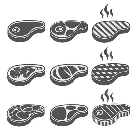 grill meat: Beef meat steak vector icons set. Barbecue roast, hot lunch, bacon grill illustration
