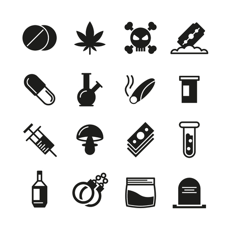narcotic: Drugs black vector icons set. Addiction narcotic, marijuana and syringe, mushroom and cocaine illustration