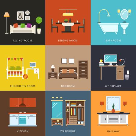 Das Innere der verschiedenen Zimmertypen. Möbel für das Haus, Flur und Garderobe, Arbeitsplatz und Wohnen, Komfort Haus. Vektor-Illustration im flachen Stil Illustration