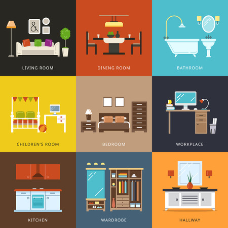 Interior of different rooms types. Furniture for home, hallway and wardrobe, workplace and living,comfort house. Vector illustration in flat style