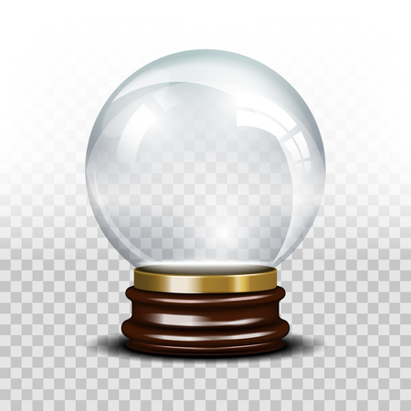 dome: Vector glass empty snow globe. Ball sphere magic, realistic dome, crystal glossy illustration
