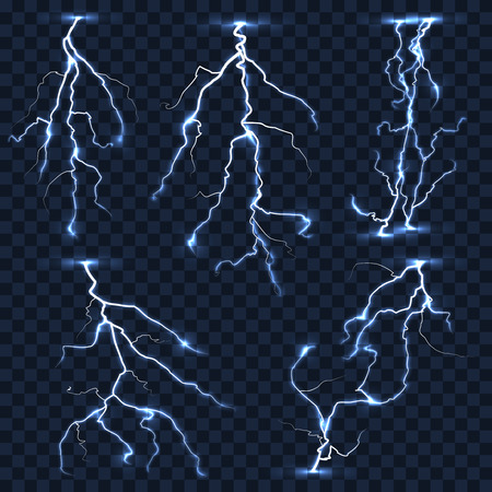 shock: Realistic vector lightnings set on plaid transparent background. Electric strike, thunderstorm shock illustration