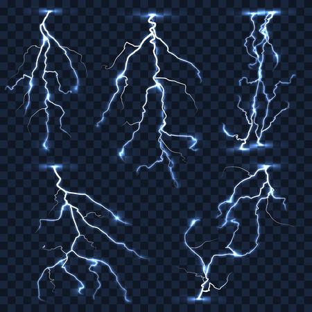 Realistic vector lightnings set on plaid transparent background. Electric strike, thunderstorm shock illustration