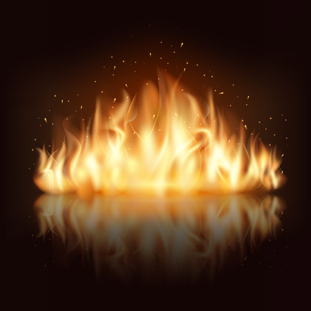 Burning fire flame. Burn and hot, warm and heat, energy flammable, flaming vector illustration Vettoriali