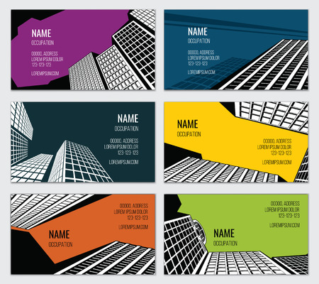 downtown: Real estate business card vector template. Skyscraper and downtown, street town, urban property illustration