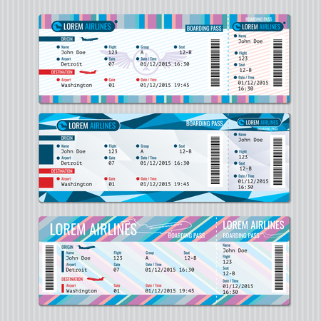 passenger airline: Airline boarding pass tickets vector template. Card passenger, trip aeroplane illustration