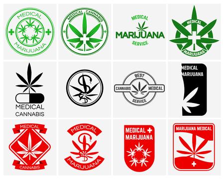 marihuana: marihuana médica o vector de cannabis logotipos, etiquetas y emblemas conjunto. hierbas y fármacos, hoja legal ilustración de malezas Vectores