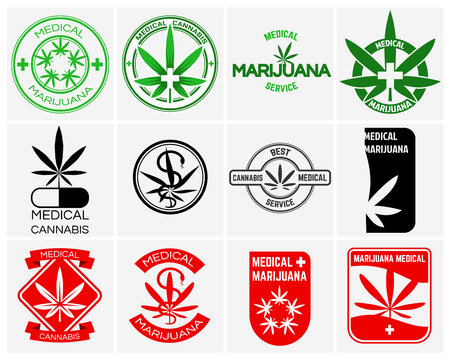 Medical marijuana or cannabis vector logos, labels and emblems set. Herb drug, legal leaf weed illustration