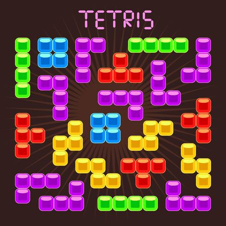 tetris: Tetris vector elements in flat design style. Game for computer, digital retro block, mosaic brick play, illustration Illustration