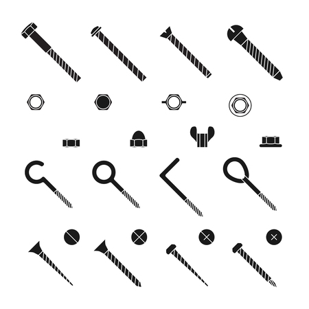 Screws, nuts and rivets icons set. Bolt for construction industry, industrial equipment stainless, vector illustration