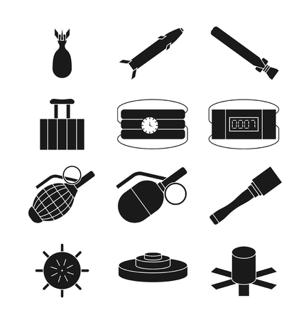 Bomb, dynamite and explosive vector icons set. Bomb weapon, tnt and grenade illustration Illustration