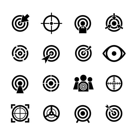 icônes vectorielles cible définies. Affaires ou le but du sport, l'objectif visant, concentrer succès illustration