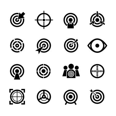 Target-Vektor-Icons gesetzt. Geschäft oder Sport Ziel, mit dem Ziel Ziel konzentrieren Erfolg Illustration