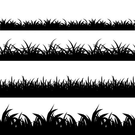 Conjunto de la hierba Silueta inconsútil negro del vector. paisaje de la naturaleza, la planta y el campo de la ilustración en blanco y negro