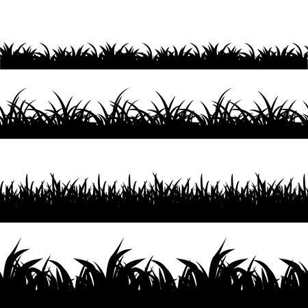 set senza soluzione di continuità erba nero silhouette vettoriali. Natura, paesaggio, impianti e campo in bianco e nero illustrazione