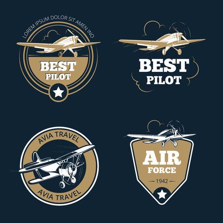 avia: Aircraft and air transportation labels. Air tourism vector emblems. Emblem aircraft, flight label adventure illustration