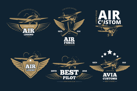 aventuras de vuelo vector logos y etiquetas. Aire leyenda personalizada y la fuerza, mejor ilustración piloto Logos