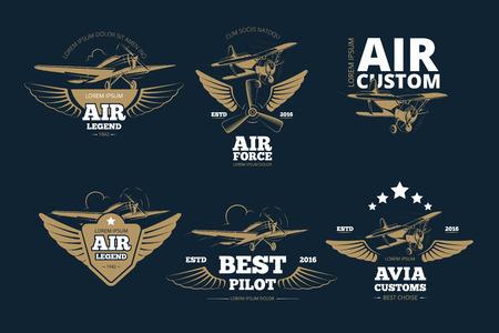 Flight adventures vector logos and labels. Air legend custom and force, best pilot illustration