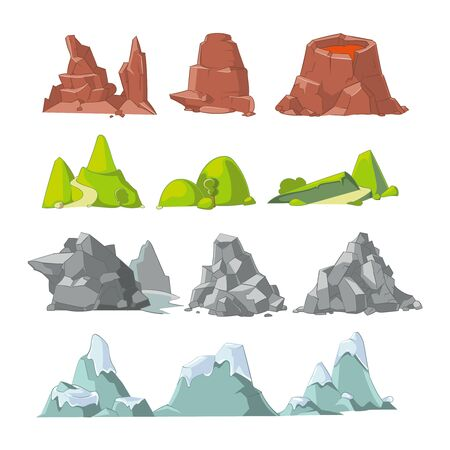 snow and trees: Hills and mountains cartoon vector set. Hill nature, element for landscape outdoor, rock snow illustration Illustration