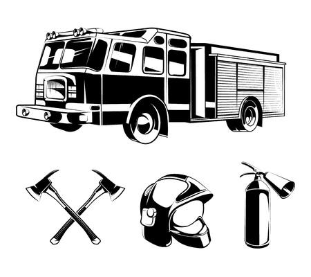 I vigili del fuoco elementi del vettore per le etichette o loghi. Casco e ascia, la protezione e l'illustrazione di soccorso Vettoriali