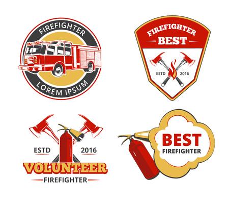 bombero de rojo: emblemas de color bombero, etiquetas e insignias vector conjunto. Voluntarios y protección, salvamento y seguridad de la ilustración
