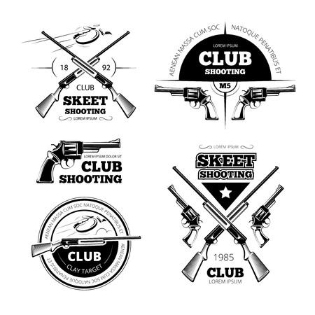 tiro al blanco: Vintage etiquetas del club arma, logotipos, emblemas conjunto. Placa y la pistola, rifle arma, ilustración vectorial
