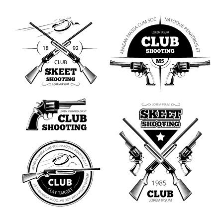 Vintage gun club labels, logos, emblems set. Badge and gun, weapon rifle, vector illustration Stock Illustratie