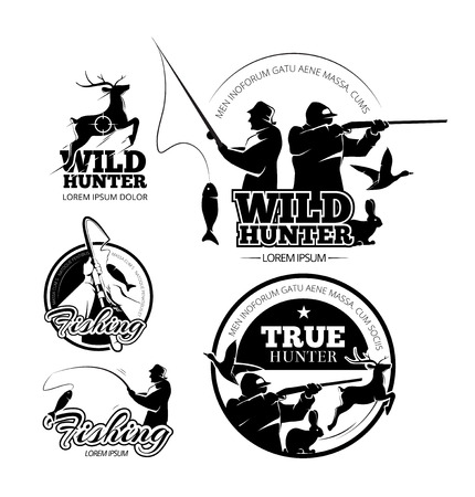 hunter: Vintage hunting and fishing vector labels, logos and emblems set. Deer and rifle, rod and aiming illustration
