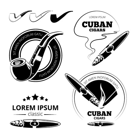 cigars: Tobacco leaves, cigars and hookah labels vector set. Cuban and havana smoking illustration Illustration