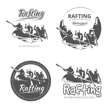 logotipo turismo: Vintage en balsa, canoa y kayak vector etiquetas, emblemas y distintivos establecidos. actividad al aire libre de la canoa en el río ilustración Vectores