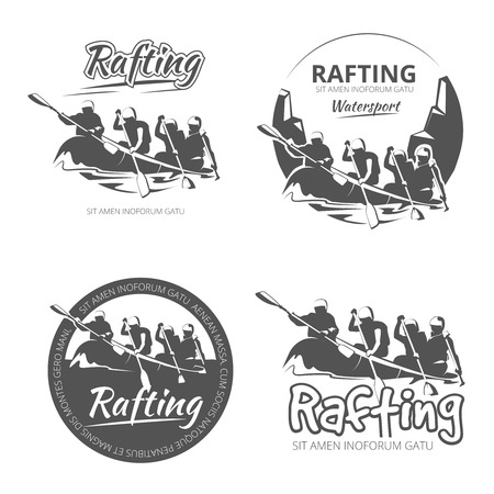 raft: Vintage rafting, canoe and kayak vector labels, emblems and badges set. Canoe outdoor activity on river illustration