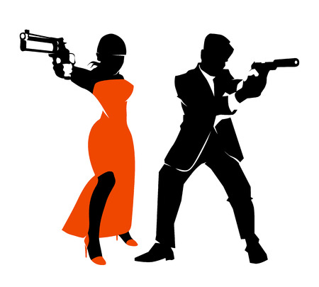 handgun: Spy couple vector set. Detective man and woman, weapon and handgun illustration