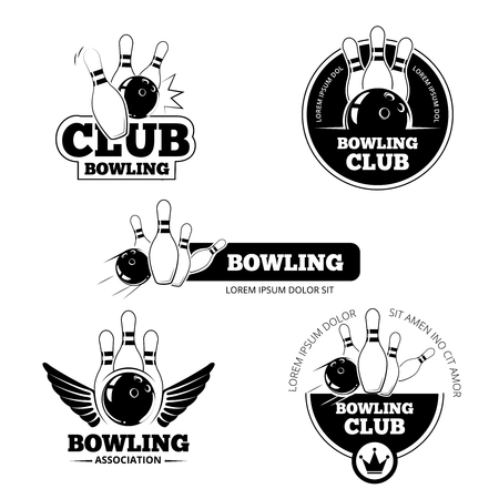 Bowling vector labels, emblems and badges set. Club gaming play, skittle and strike illustration Illustration