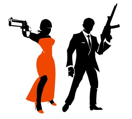 스파이 커플의 실루엣입니다. 빨간 드레스, 갱스 터 사람 또는 비밀 요원에 무기를 가진 여자. 벡터 일러스트 레이션 문자