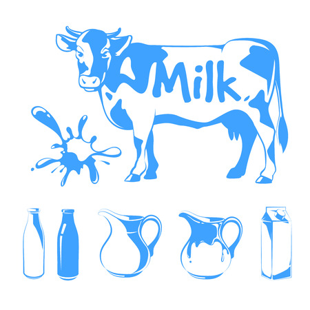 food and beverage: Vector elements for milk logos, labels and emblems. Food farm, cow and fresh natural beverage illustration