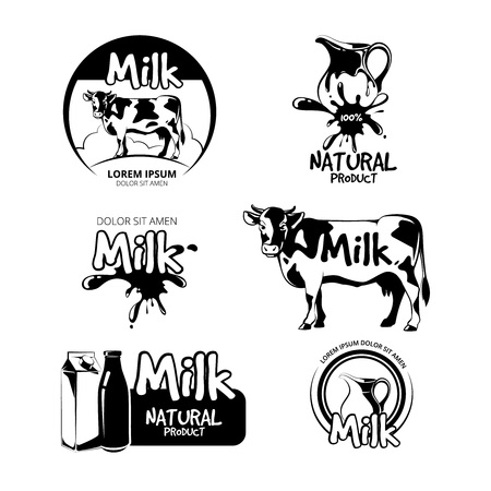 agriculture industry: Milk logo and emblems vector set. Label product, farm dairy, cow and fresh natural beverage illustration Illustration