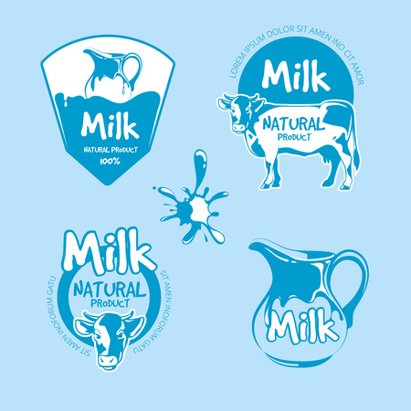 dairy cows: Milk and dairy farm product logo vector set. Fresh natural beverage organic illustration