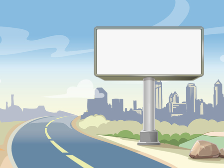 Blank advertising highway billboard and urban landscape. Commercial advertisement outdoor, board poster. Vector illustration