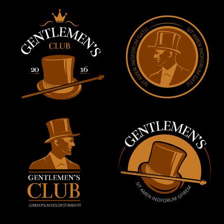 elite: Elite mens club vintage vector labels. Hat and gentleman, classic cane and vogue illustration