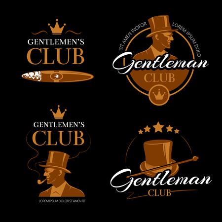 Tuyauterie mens club de logos vectoriels messieurs fixés. vogue classique, le visage de logotype, mâle portrait illustration