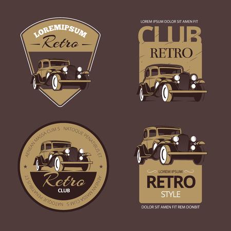 voitures rétro classiques. étiquettes vintage set. Véhicule ancien, emblème de la collection et l'insigne illustration