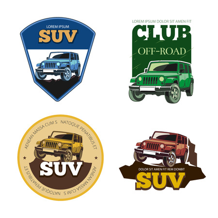 offroad: Off-road car vector emblems, labels and logos. Transport vehicle, transportation auto motor speed illustration